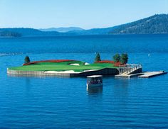 Golf - Hole 14 floating green at Coeur d'Alene Resort Golf Course in Idaho - definitely want to play this one!