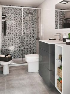 Plato de ducha con mosaico de vidrio Bathroom Ladder, Bathroom Wall Decor, Bathroom Sets, Bathroom Furniture, Grey Bathrooms, Modern Bathroom Design, Leroy Merlin, Ladder Decor, Toilet