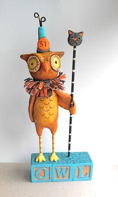 Wise Brown Halloween Owl clay folk art sculpture. $50.00, via Etsy.