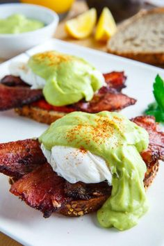 Eggs Benedict with Bacon, Avodaise (Avocado Hollandaise)