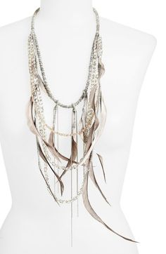 Fabiana Filippi Feather & Glass Bead Necklace available at #Nordstrom