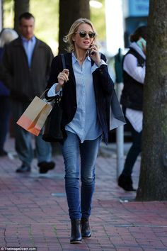 In the blues:The Australian actress looked great in an all-blue look featuring straight leg jeans, a striped shirt and a navy blazer