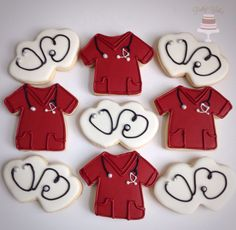 Scrubs and stethoscope cookies