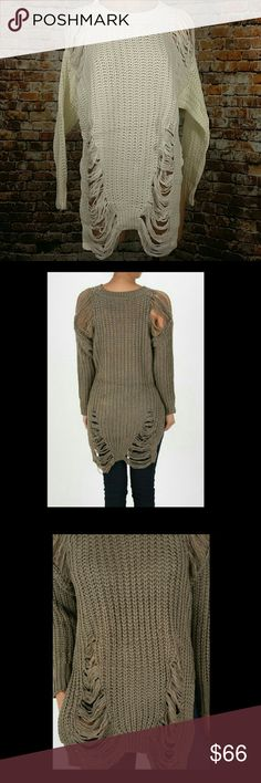 Distressed Sweater Trendy Distressed Long Sweater.  Will be available in your choice of Khaki or Cream Small,  Medium & Large  This listing is for Cream ?Price Firm Unless Bundled  ? No Trades Boutique  Sweaters Crew & Scoop Necks
