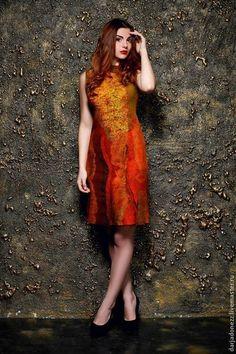 """Платья ручной работы. Ярмарка Мастеров - ручная работа. Купить платье валяное """" Блюз"""". Handmade. Коричневый, платье валяное"""