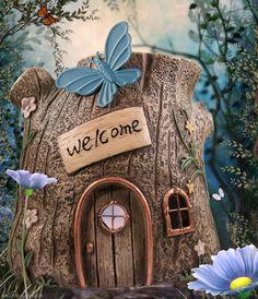 Tree Fairy House in the fairy garden