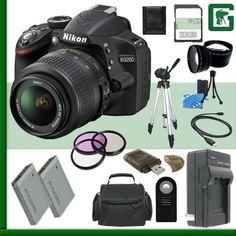 Nikon D3200 CMOS DSLR Camera with 18-55mm VR Lens (Black) + 32GB + Green's Camera Bundle Nikon http://www.amazon.com/dp/B00OG362CM/ref=cm_sw_r_pi_dp_T0sWvb0ME8QBH