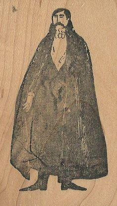 Edward Gorey Kidstamps Caped Man rubber stamp