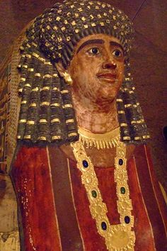 Mummy of Artemidora from Meir Egypt 90-100 CE Painted and Gilded Plaster and Applique (5)