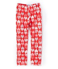 Red & Pink Love Bird Leggings - Infant Toddler & Girls