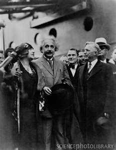 Hitler's barbarity against Jews persuaded many scientists and intellectuals to leave Germany, among them Nobel prizewinning physicist Albert Einstein. Here he disembarks in New York on a visit in 1930; when Hitler came to power in 1933, Einstein was teaching in the U.S., and stayed. In 1939, he sent his famous letter of concern to FDR that ultimately led to the atomic bomb project - a letter that the pacifist Einstein later said he wished he had not written.