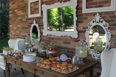 """Great set up for a backyard party. Love the salad """"bowls"""""""