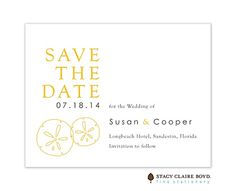 By The Beach Save The Date Card: This Save the Date Card features a pair of simple illustrated sand dollars in yellow on a crisp white card.