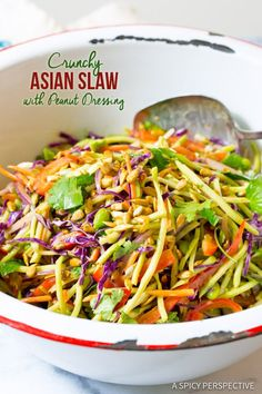 Zippy Crunchy Asian Slaw Recipe with Peanut Dressing | ASpicyPerspective.com