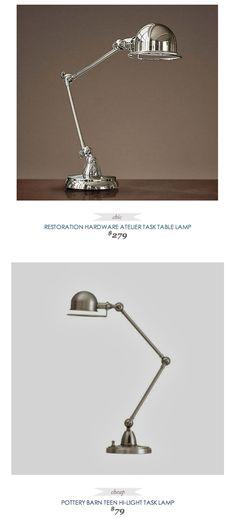 #CopyCatChicFind #RestorationHardware Atelier Task Table #Lamp $279 - vs - #PotteryBarnTeen Hi-Light Task Lamp $79