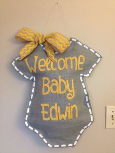 Welcome Baby Burlap Door hanger personalized by TheCraftyFoxLR, $30.00