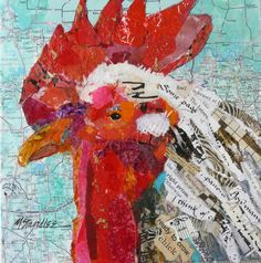 Ready to Crow Small hand painted paper collage painting with some text from magazines and books by Nancy Standlle.