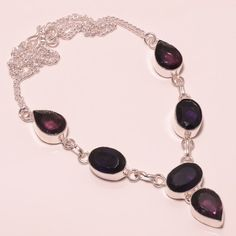 26 GM FACETED AFRICAN AMETHYST, PINK AMETHYST .925 STERLING SILVER NECKLACE #Handmade