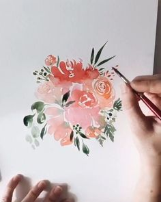 Loose watercolor floral bouquet Work in progress video of a loose watercolor floral bouquet<br> Illustration Design Graphique, Illustration Blume, Watercolor Illustration, Watercolor Cards, Floral Watercolor, Watercolor Paintings, Watercolor Trees, Tattoo Watercolor, Easy Watercolor