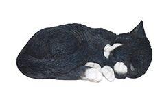Figura decorativa de gato dormido, color (blanco y negro)
