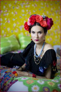 ❀ Flower Maiden Fantasy ❀ beautiful photography of women and flowers - Emilia Kallinen Frida Kahlo inspired photoshoot