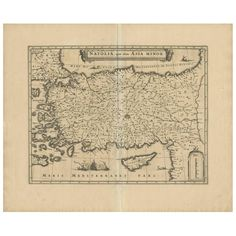 For Sale on - This is an authentic antique map of Asia Minor that includes Cyprus and the Aegean Islands by Willem Blaeu. The map was published in Amsterdam, circa Antique Maps, Rare Antique, Map Of American States, Map Of Switzerland, Denmark Map, Paleolithic Era, Scale Map, Asia Map, World Map Art