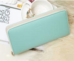 2016 Fashion women wallet candy color PU leather wallet long Ladies clutch coin purse casual handbag Carteira Feminina DL1989