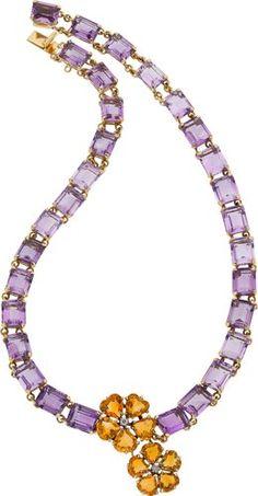 Diamond, Citrine, Amethyst, Gold Necklace.