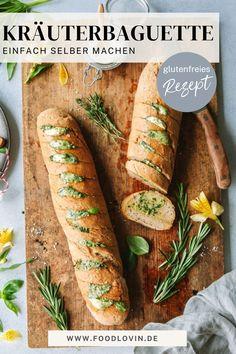 Kräuterbaguette lässt sich mit diesem #rezept ganz einfach selber machen und ist ganz nebenbei auch noch glutenfrei. Food Design, Kraut, I Love Food, Fresh Rolls, Food Styling, Food Art, Food Photography, Herbs, Ethnic Recipes