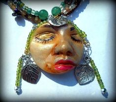 Clay face assemblage necklace, Summer Fae
