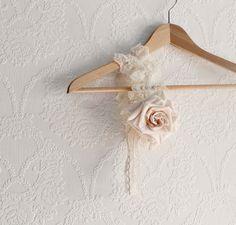Ivory Rose Shabby Style Bride's Garter by BrokenGhostClothing,