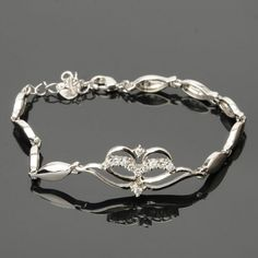 New Fashion Mask Style 925 Silver Platinum Plated Bracelet with Rhinestones for Women Silver