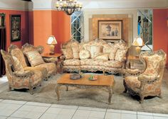 Formal Sofa & Love Seat Living Room Set Antique Style Traditional ...