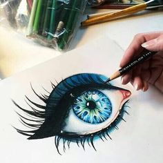 40 Color Pencil Drawings To Having You Cooing With Joy - Bored Art Pencil Art, Pencil Drawings, Photo Humour, Realistic Eye Drawing, Drawing Eyes, Eyeball Drawing, Deep Drawing, Wow Art, Art Plastique