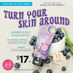 Feature of the Week! For only a limited time your way to beautiful and soothe skin with our fresh blueberry & yogurt face mask! You can place orders @ https:/LauraAguilar.po.sh or give me a call 720-385-9338 :)