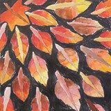 """4th grade students traced leaves in a radial design pattern, added crayon in the background, and created a """"changing leaf"""" effect with watercolor using 3 colors on each side of every leaf."""