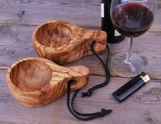 Olive wood, KUKSA Cup with leather strap, Vessel Kuksa Cup, Bois Diy, Woodworking Inspiration, Wood Bowls, Camping Accessories, Used Iphone, Natural Oils, Woodworking Crafts, Handmade Gifts