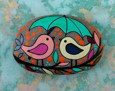 PINTADA piedra playa / arte de piedra / punto pintado