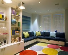 love the seating for reading nook in kids living room/play room