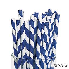 Dress up your drinks with blue and white striped paper straws to match your party theme. Choose blue straws to coordinate with your nautical party, wedding ...