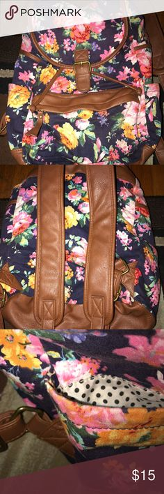 Flower vintage backpack Pockets on both sides....for adults and kids, blue with flowers Bags Backpacks
