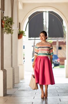 cute & little blog | oasap striped mesh top, choies mink full midi skirt, kate spade gold pumps, ann taylor gallery tote | spring summer outfit