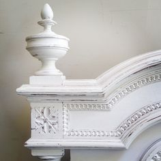 Lovely distressed French bed finial / painted French furniture / Frenchfinds.co.uk