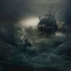 MS-in-a-Bottle-painting edgar allan poe Sea Storm, Ghost Ship, Ship Paintings, Fantasy Art Landscapes, Stormy Sea, Pirate Life, Sea Monsters, Ship Art, Pirates Of The Caribbean