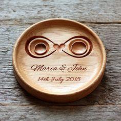 Handmade Custom Wood Wedding Ring Holder (Infinity), Ring Bearer Pillow Alternative, Ring Plate, Ring Dish - Eleturtle