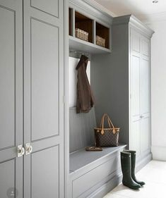 We all know that open plan kitchen – dining rooms are absolutely perfect for modern family living but the downside is that for every wall knocked through, Mudroom Cabinets, Mudroom Laundry Room, Laundry Room Design, Mud Room Lockers, Hallway Cupboards, Kitchen Design, Hall Deco, Boot Room Utility, Utility Room Ideas