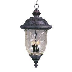 Maxim Lighting 3427WGOB 3 Light Carriage House Outdoor Pendant, Oriental Bronze,