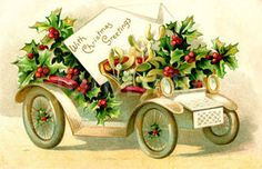 Christmas greetings vintage car (Christmas greetings vintage car.)