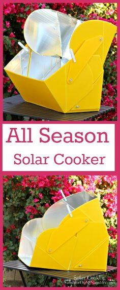 All Season Solar Cooker is a panel solar cooker. that adjusts to any angle to capture sun rays from dawn to dusk.
