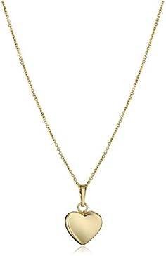 14k Yellow Gold Italian Heart Pendant Necklace 18 *** Be sure to check out this awesome product.(It is Amazon affiliate link) #washington